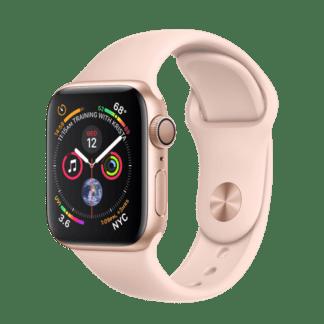 Apple Watch Series 4, 44 мм, корпус из серебристого алюминия, спортивный ремешок белого цвета