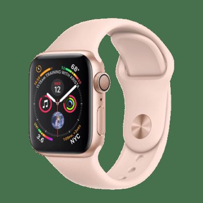 """Apple Watch Series 4 (GPS) из золотистого алюминия, спортивный ремешок цвета """"розовый песок"""""""