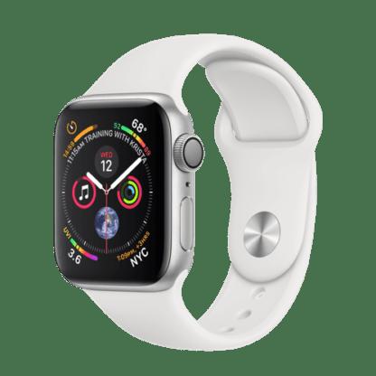 Apple Watch Series 4, 40 мм, корпус из серебристого алюминия, спортивный ремешок белого цвета