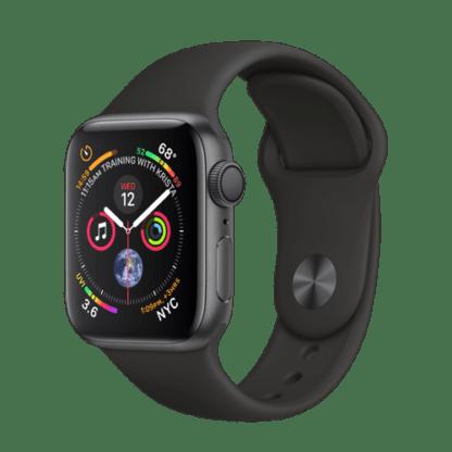 """Apple Watch Series 4, 40 мм, корпус из алюминия цвета """"серый космос"""", черный спортивный ремешок"""
