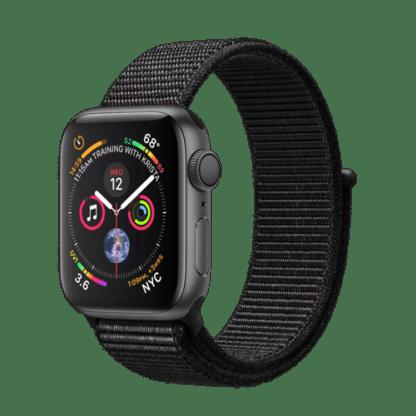 """Apple Watch Series 4 (GPS) из алюминия цвета """"серый космос"""", черный спортивный браслет"""