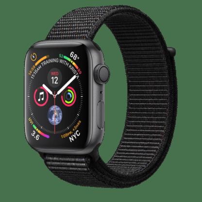 """Apple Watch Series 4, 44 мм, корпус из алюминия цвета """"серый космос"""", черный спортивный браслет"""