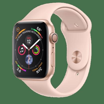 """Apple Watch Series 4, 44 мм, корпус из золотистого алюминия, спортивный ремешок цвета """"розовый песок"""""""