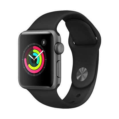 Apple Watch Series 3, 38 мм, корпус из алюминия цвета «серый космос», спортивный ремешок чёрного цвета