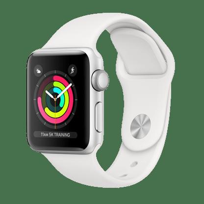 Apple Watch Series 3, 38 мм, корпус из серебристого алюминия, спортивный ремешок белого цвета
