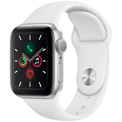 Apple Watch Series 5, 40 мм, корпус из алюминия серебристого цвета, спортивный ремешок