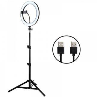 Кольцевая лампа для фото и видеосъемки LED для смартфона со штативом 26 см