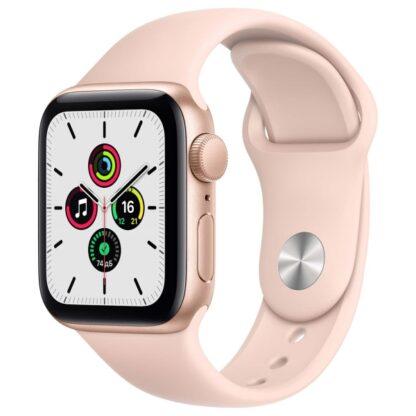 Apple Watch SE, 40 мм, корпус из алюминия золотого цвета, спортивный ремешок цвета «розовый песок»