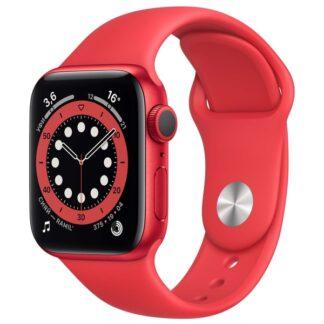 Apple Watch Series 6, 40 мм, корпус из алюминия цвета RED, спортивный ремешок красного цвета