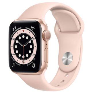 Apple Watch Series 6, 40 мм, корпус из алюминия золотого цвета, спортивный ремешок цвета «розовый песок»