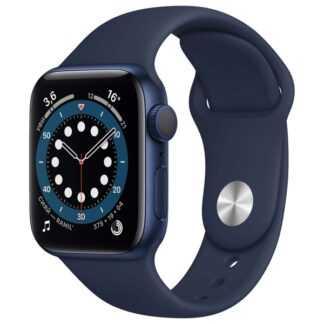 Apple Watch Series 6, 44 мм, корпус из алюминия серебристого цвета, спортивный ремешок белого цвета