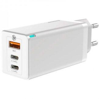 Сетевое зарядное устройство быстрое PD 3.0+QC 4+ USB+2xUSB Type-C Baseus GaN Quick Travel Charger 65W - Черное (CCGAN-B01)
